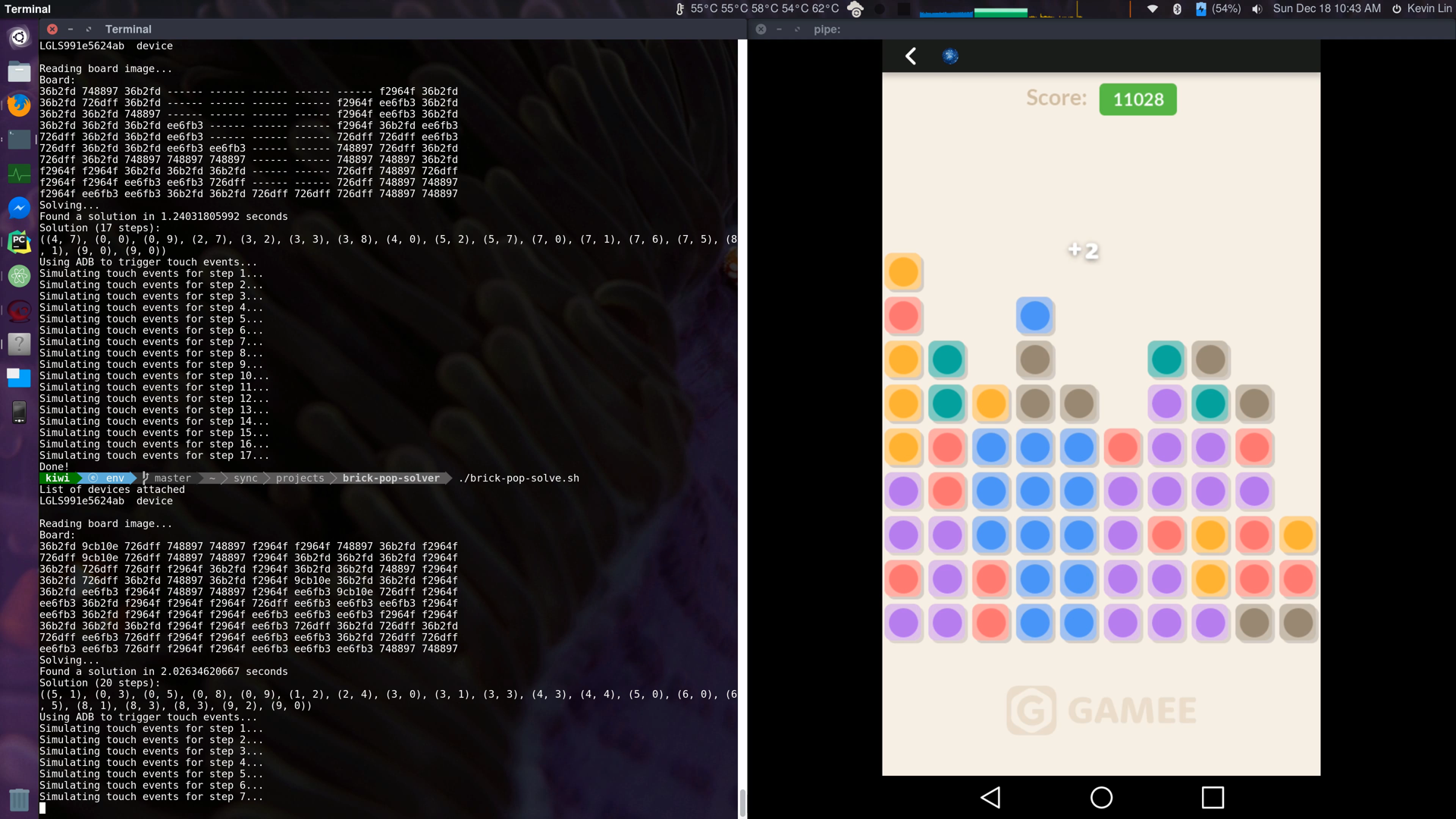Building An Automated Solver for Facebook Messenger's Brick Pop